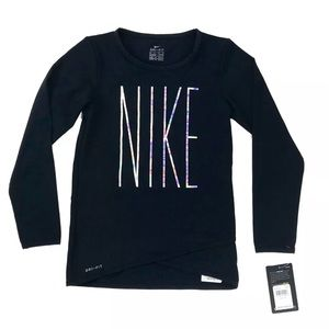 NWT Nike Girls 6X Iridescent Crossover Dri-FIT Top